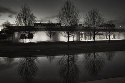 Piano Pavilion Bw Reflections Print by Joan Carroll