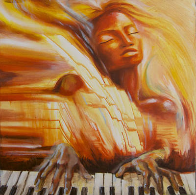 Woman Playing Piano Painting - Piano Song by Anna Huff