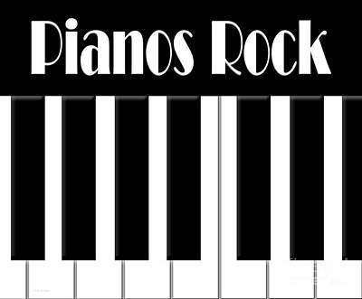 Abstract Digital Art - Pianos Rock by Andee Design