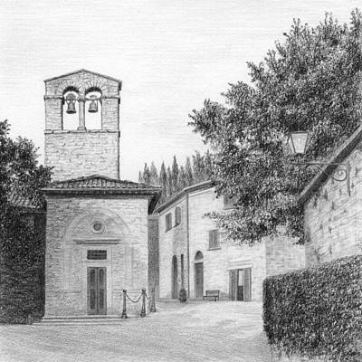 Piazza Drawing - Piazza At San Cristoforo by Diane Cardaci