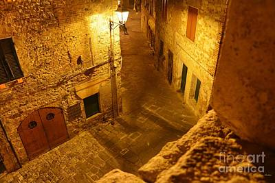 Piazza By Night In Tuscany Print by Ramona Matei
