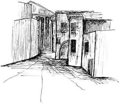 Piazza Drawing - Piazza S. Angelo In Pescheria by Elizabeth Thorstenson