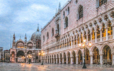 Architecture Digital Art - Piazza San Marco Venice by Liz Leyden