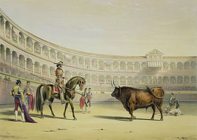 Stadiums Drawing - Picador Challenging The Bull, 1865 by William Henry Lake Price