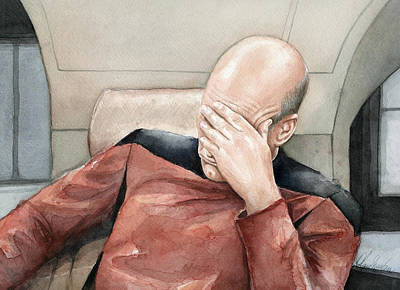 Picard Facepalm Meme Watercolor Print by Olga Shvartsur