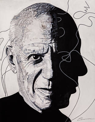 Picasso In Light Sketch Print by Joe Ciccarone