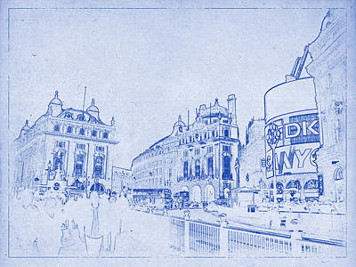 Justin Digital Art - Piccadilly Circus Blueprint by Justin Woodhouse