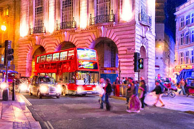 London Photograph - Piccadilly Circus By Night - London by Mark E Tisdale