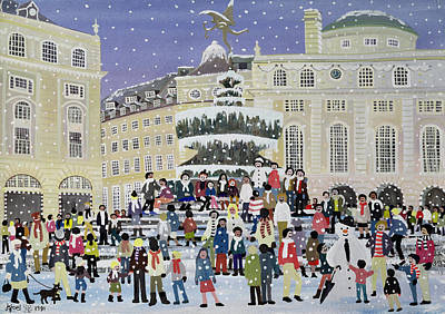 Snow Scene Painting - Piccadilly Snow Scene by Judy Joel