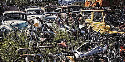 Scrap Metal Yard Photograph - Pickers Place Paradise Visited  by Lee Craig