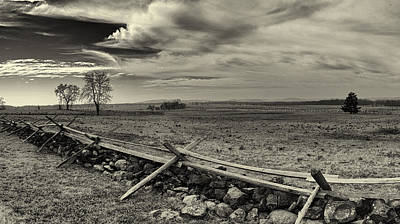 Picketts Charge The Angle Black And White Print by Joshua House