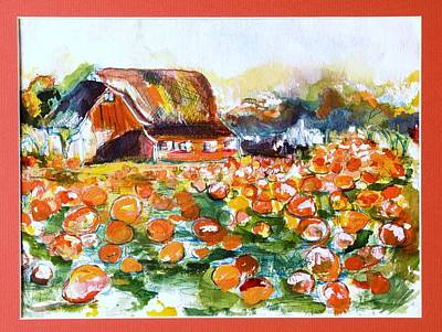 Picking Pumpkins Painting - Picking Out A Pumpkin by Martha Nelson
