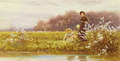 Tranquil Painting - Picking Primroses by Thomas James Lloyd