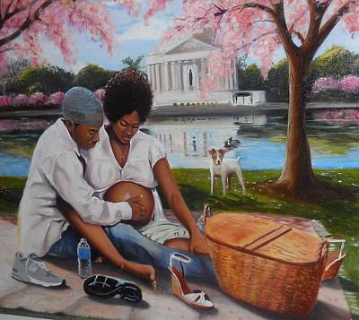 Tidal Basin Painting - Young Couple Picnicking By Tidal Basin by Harry T Ellis