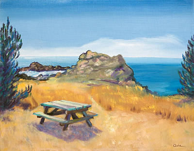Picnic Table And Ocean With Yellow Field Print by Asha Carolyn Young