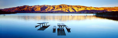 Diaz Photograph - Picnic Tables In The Lake, Diaz by Panoramic Images