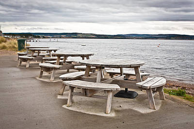 Empty Chairs Photograph - Picnic Tables by Tom Gowanlock