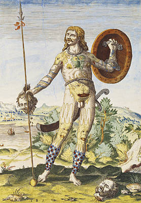 Tattoo Photograph - Pictish Man, From Admiranda Narratio..., Engraved By Theodore De Bry 1528-98 1585-88 Coloured by John White