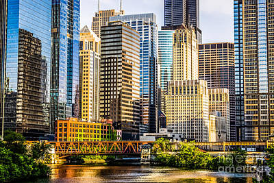 Picture Of Chicago Buildings At Lake Street Bridge Print by Paul Velgos