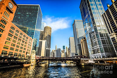 Picture Of Chicago River Skyline At Clark Street Bridge Print by Paul Velgos