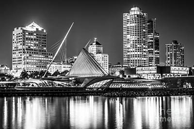 Picture Of Milwaukee Skyline At Night In Black And White Print by Paul Velgos