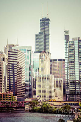 Riverfront Photograph - Picture Of Vintage Chicago With Sears Willis Tower by Paul Velgos