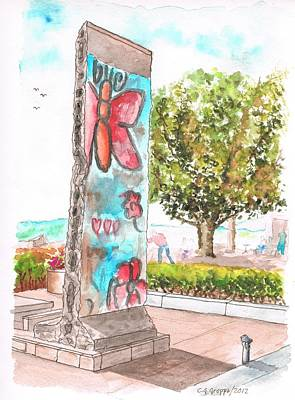 Piece Of The Berlin Wall In Ronald Reagan Library - Simi Valley - California Original by Carlos G Groppa
