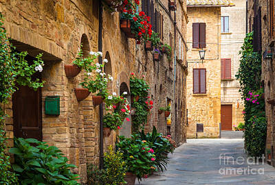 Door Photograph - Pienza Street by Inge Johnsson