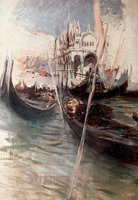 Italian Landscapes Painting - Pier And Saint Marc In Venice by Giovanni Boldini
