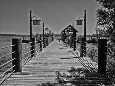 Pier At Fort Wilderness In Black And White Walt Disney World Print by Thomas Woolworth