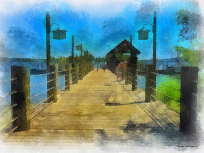 Pier At Fort Wilderness Wdw Photo Art 01 Print by Thomas Woolworth