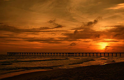 Pier At Sunset Print by Sandy Keeton