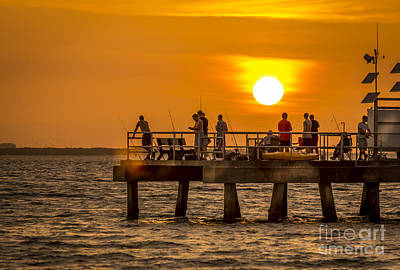 Pier Fishing Print by Marvin Spates