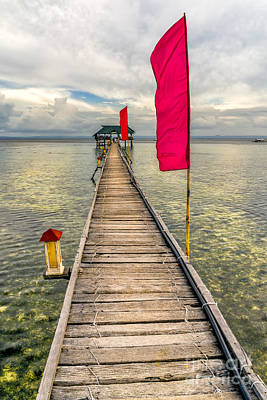 Pier Flags Print by Adrian Evans