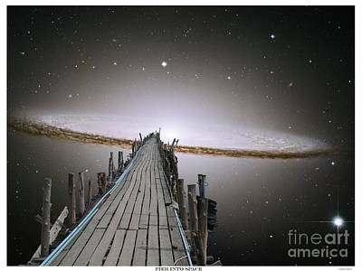 Epic Digital Art - Pier Into Space Poster Text by Gregory Smith