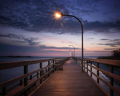 Pier Morning Sunrise Print by Vicki Jauron