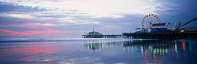 Rollercoaster Photograph - Pier With A Ferris Wheel, Santa Monica by Panoramic Images