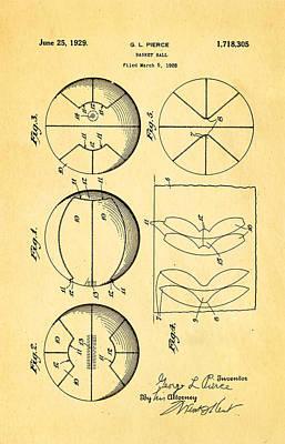 Pierce Basketball Patent Art 1929 Print by Ian Monk