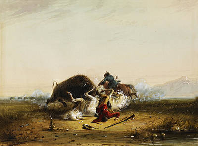 Pierre And The Buffalo Print by Alfred Jacob Miller