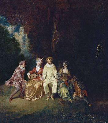 Antoine Watteau Painting - Pierrot Content by Antoine Watteau