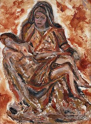 Redeemer Drawing - Pieta by Lori  Lovetere