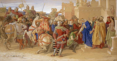 Knights Castle Painting - Piety The Knights Of The Round Table About To Depart In Quest Of The Holy Grail by William Dyce