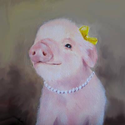 Pig In Love Painting Print by Junko Van Norman