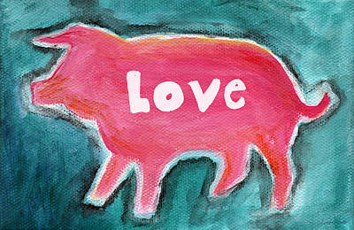 Pig Love Print by Linda Woods