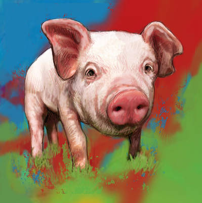 Stylized Mixed Media - Pig Stylised Pop Modern Art Drawing Sketch Portrait by Kim Wang
