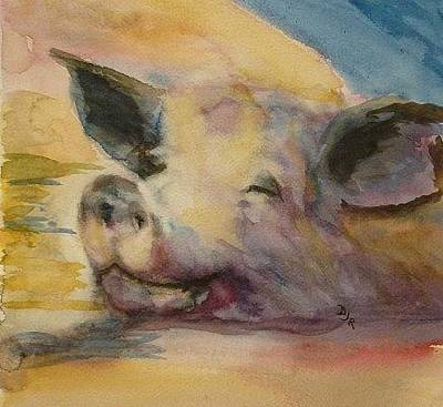 Of A Pig Painting - Pigcasso by Daniel McGowan