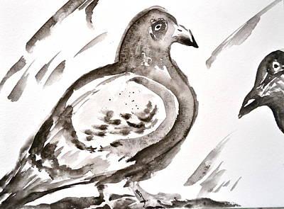 Pigeon II Sumi-e Style Original by Beverley Harper Tinsley