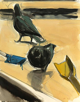 Breed Study Painting - Pigeons by Daniel Clarke