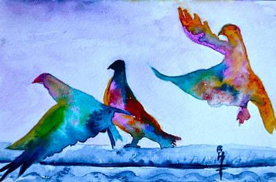 Pigeons Pigeons Pop Original by Beverley Harper Tinsley