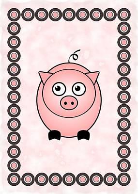 Happy Digital Art - Piggy - Animals - Art For Kids by Anastasiya Malakhova